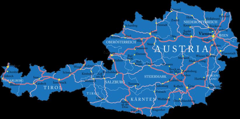Wegenkaart Oostenrijk