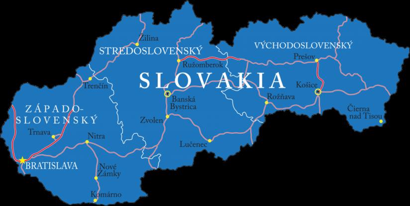 Wegenkaart Slowakije
