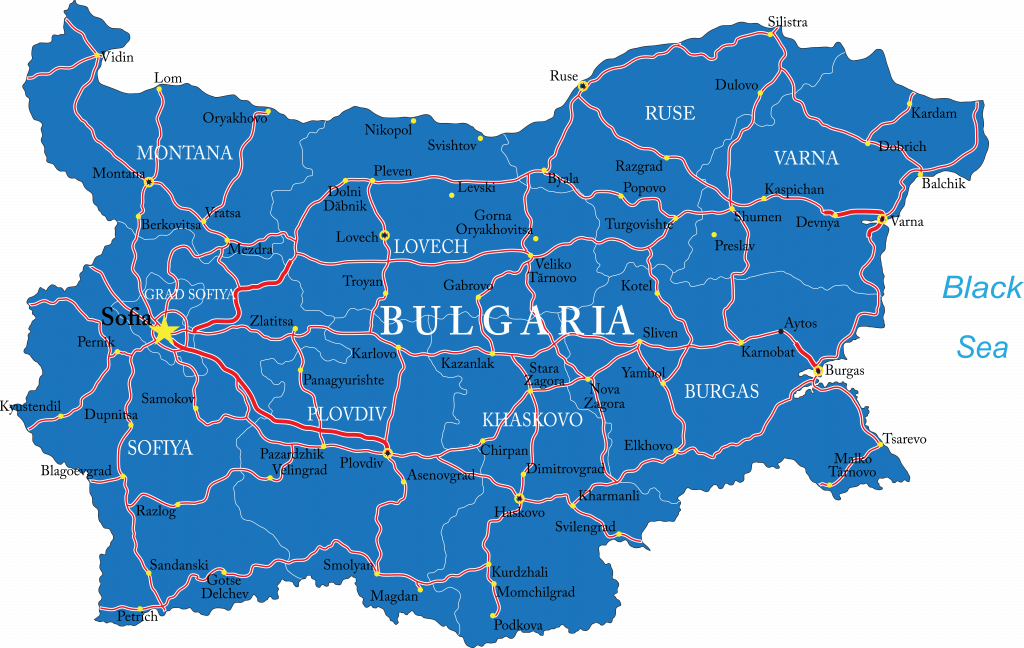 Wegenkaart Bulgarije