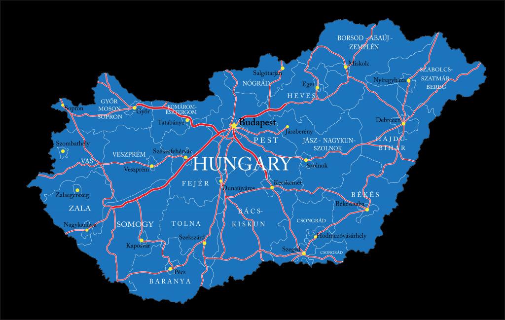 Wegenkaart Hongarije